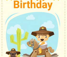 Happy birthday card with little boy and friend vector 02