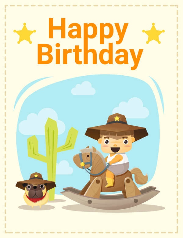 Happy Birthday Card With Little Boy And Friend Vector 02 Free Download