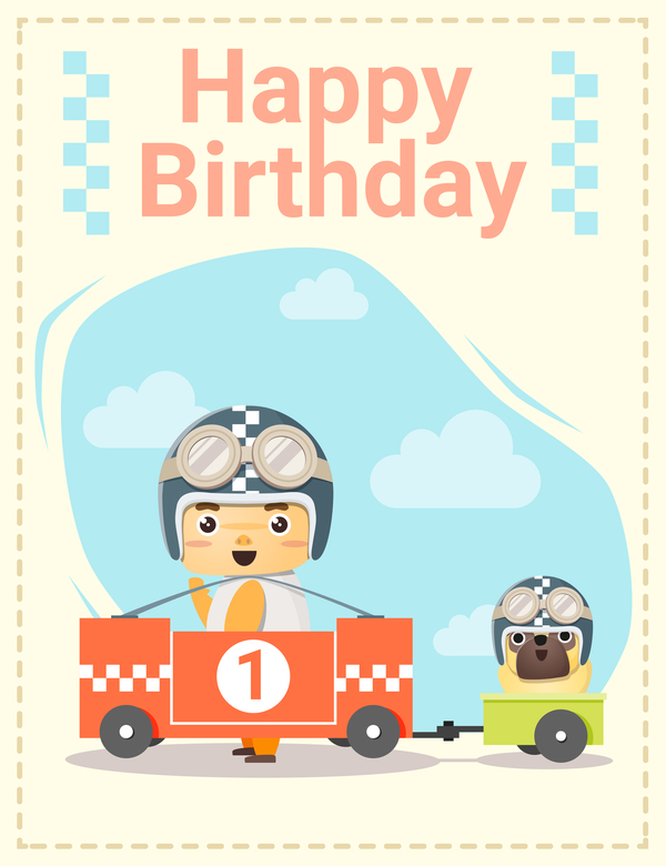 Happy Birthday Card With Little Boy And Friend Vector 03