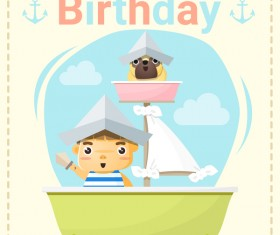 Happy birthday card with little boy and friend vector 04