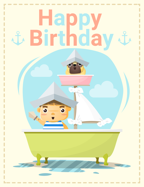 Happy Birthday Card With Little Boy And Friend Vector 04 Free Download