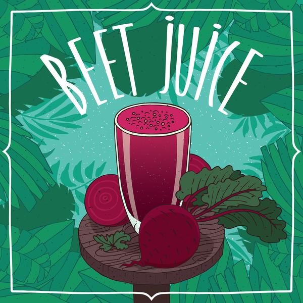 Healthy fresh beet juice vector poster template