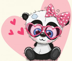 Heart with cute panda cartoon vector 01