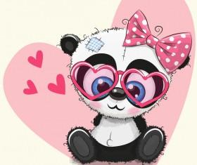 Heart with cute panda cartoon vector 01