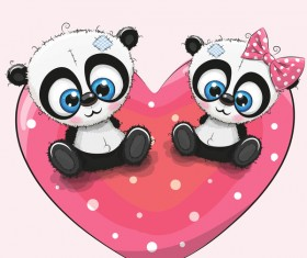 Heart with cute panda cartoon vector 02