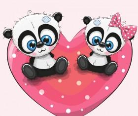 Heart with cute panda cartoon vector 02