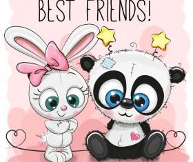 Heart with cute panda cartoon vector 03