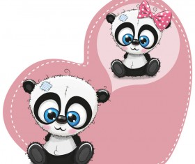 Heart with cute panda cartoon vector 04