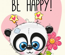 Heart with cute panda cartoon vector 06