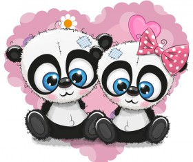 Heart with cute panda cartoon vector 07