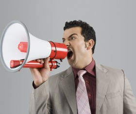 Holding a horn loud people Stock Photo 05