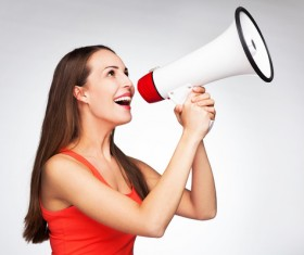 Holding a horn loud people Stock Photo 07