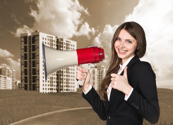 Holding a horn loud people Stock Photo 10