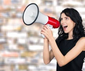 Holding a horn loud people Stock Photo 11