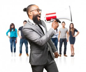Holding a horn loud people Stock Photo 14