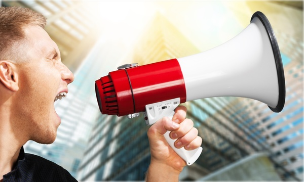Holding a horn loud people Stock Photo 16
