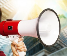 Holding a horn loud people Stock Photo 17