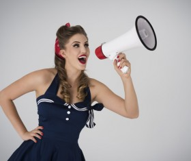 Holding a horn loud people Stock Photo 19