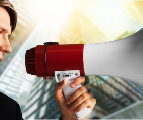 Holding a horn loud people Stock Photo 20