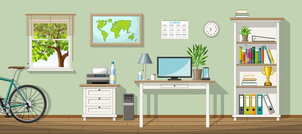 Home office design vector 01