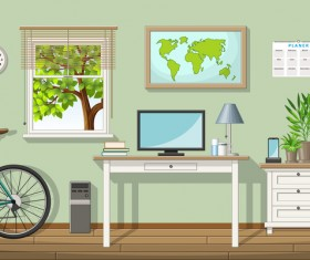 Home office design vector 02