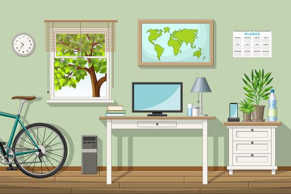Home office design vector 02