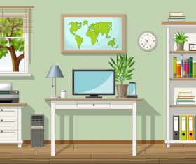 Home office design vector 03