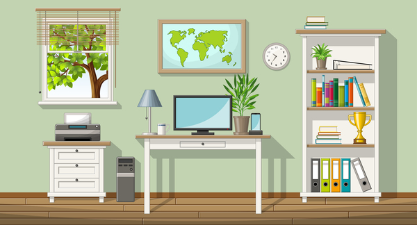 Home office design vector 03