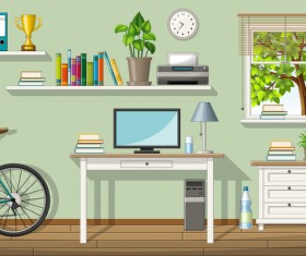 Home office design vector 04