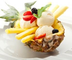 Ice cream and fruit decoration Stock Photo 01