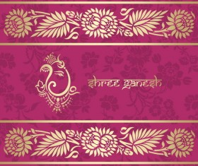 Indian patterns pink styles vector material 04