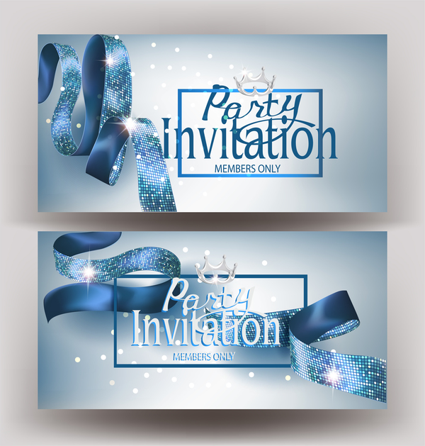 Invitation banners with silk blue ribbons vector