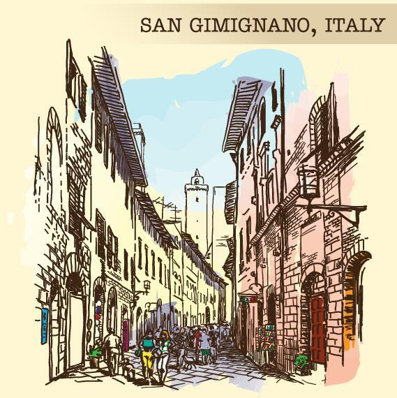 Italy san gimignano painted sketch vector 01