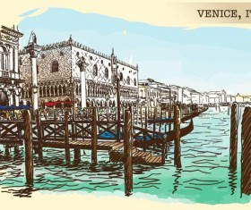 Italy venice painted sketch vector 01