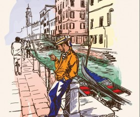Italy venice painted sketch vector 02