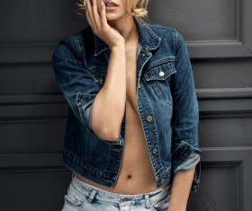 Jeans costume charming woman Stock Photo