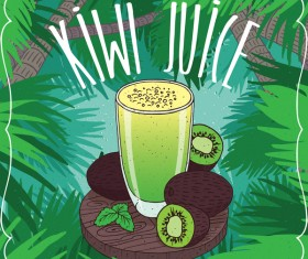 Kiwi juice in glass poster vector