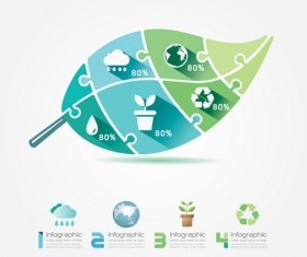 Leaf Eco business infographic vector