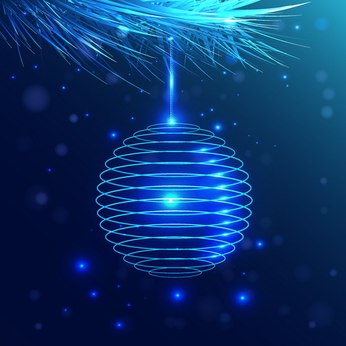 Lines christmas ball decor with blue background vector