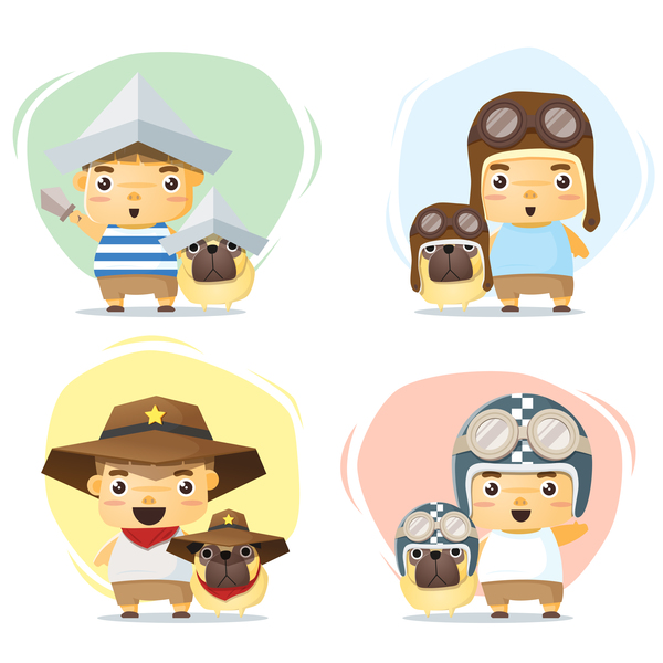 Little boy and dog in cute costume vector