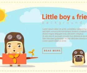 Little boy pilot and friend background vector