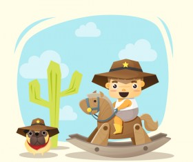 Little cowboy and friend vector material