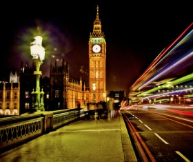 London Big Ben at night lights Stock Photo 01