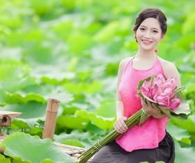 Lotus pond beautiful girl Stock Photo