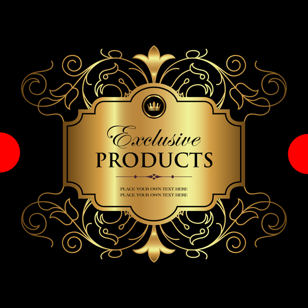 Luxury ornamental gold label vector set 01