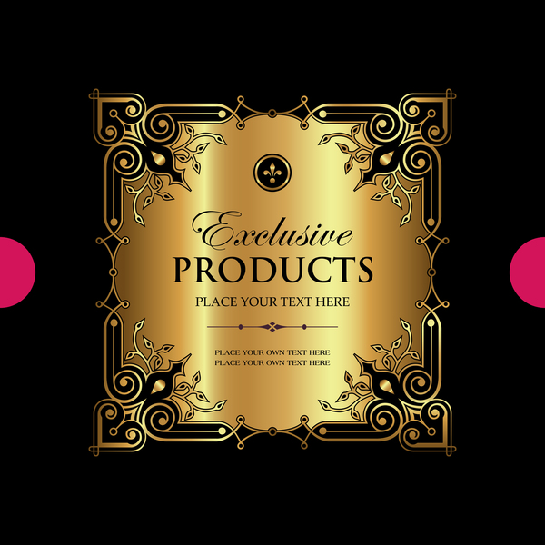 Luxury ornamental gold label vector set 02