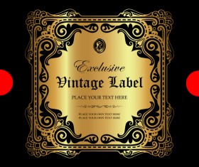 Luxury ornamental gold label vector set 03