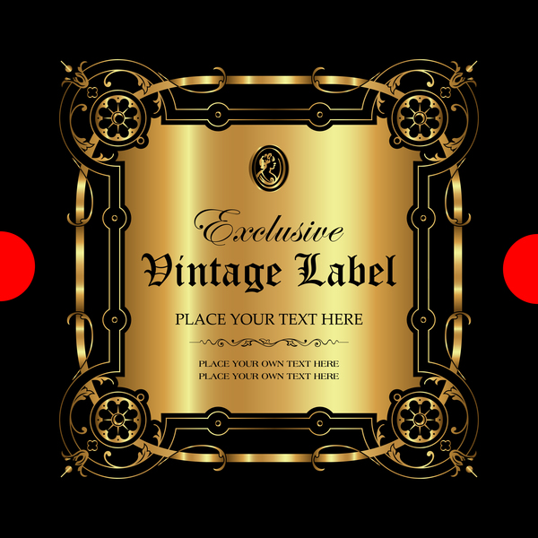 Luxury ornamental gold label vector set 04