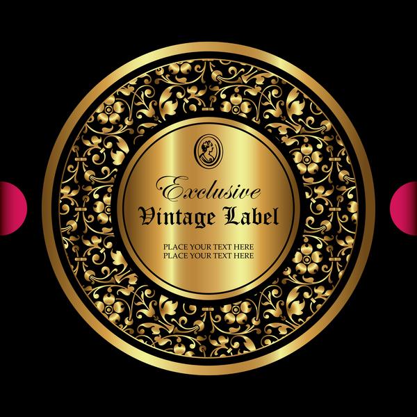 Luxury ornamental gold label vector set 05