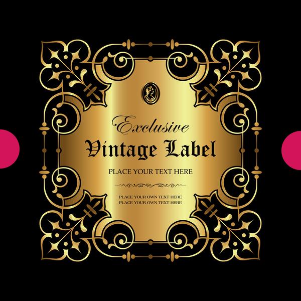 Luxury ornamental gold label vector set 06